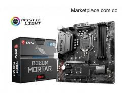 Mother board, mb msi b360m mortar, cpu support 8th
